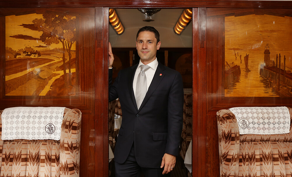 Mark Mosimann on board the Belmond British Pullman with marquetry