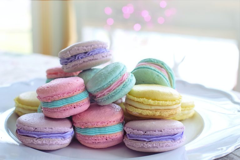 Plate of colourful macarons