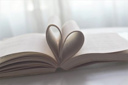 Heart=shaped paper book for the traditional 1st wedding gift