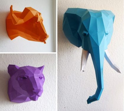 Paper geometric animal heads