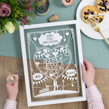 Personalised first anniversary papercut
