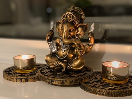 Bronze sculpture with candles