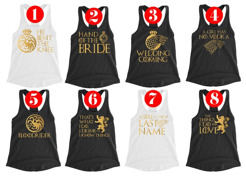 Game of Thrones Hen Do tank tops