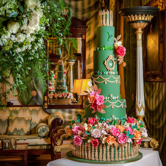 Bold and Beautiful Green Tiered Wedding Cake