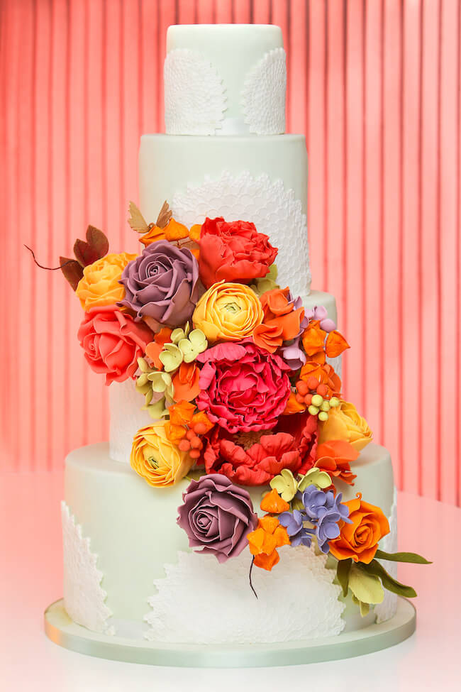 Living Coral Cake wedding cake trend