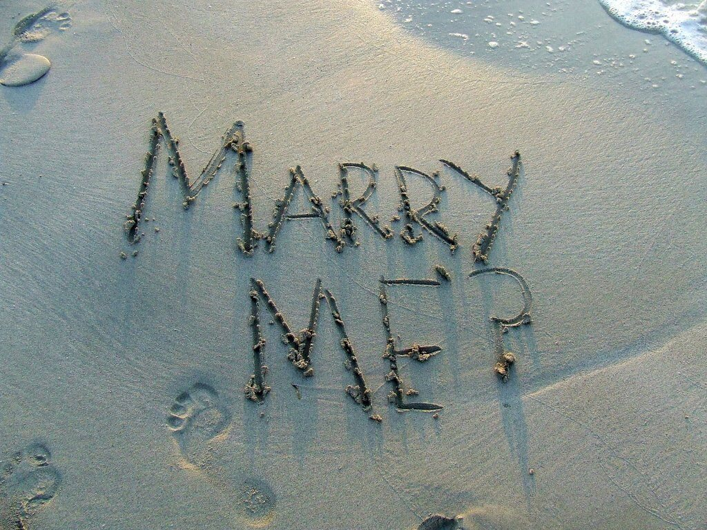 Marry Me? Question in Sand