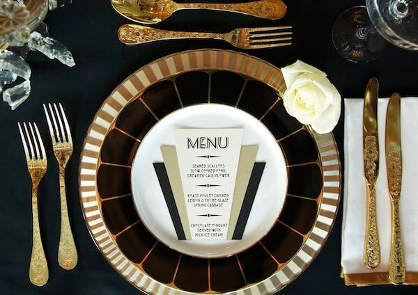 Art Deco Table Setting for Wedding