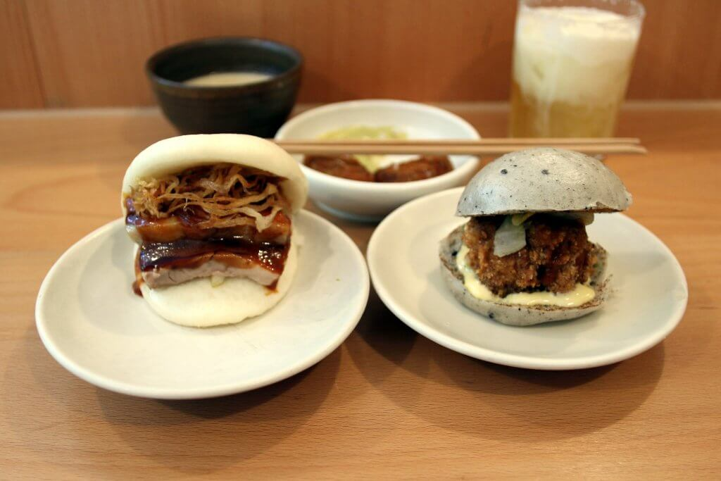 Pork confit bao fried chicken bao at Bao, Soho