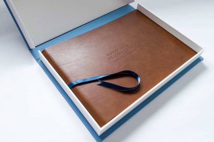 Personalised leather wedding album in box
