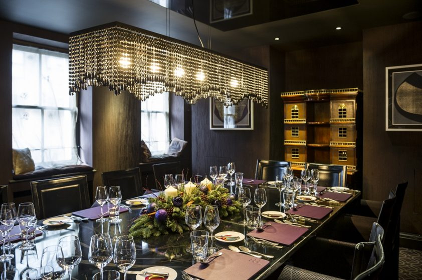 Warm and cozy private dining room at Pied a Terre
