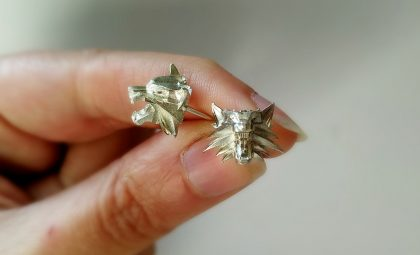 Witcher wolf stud earrings