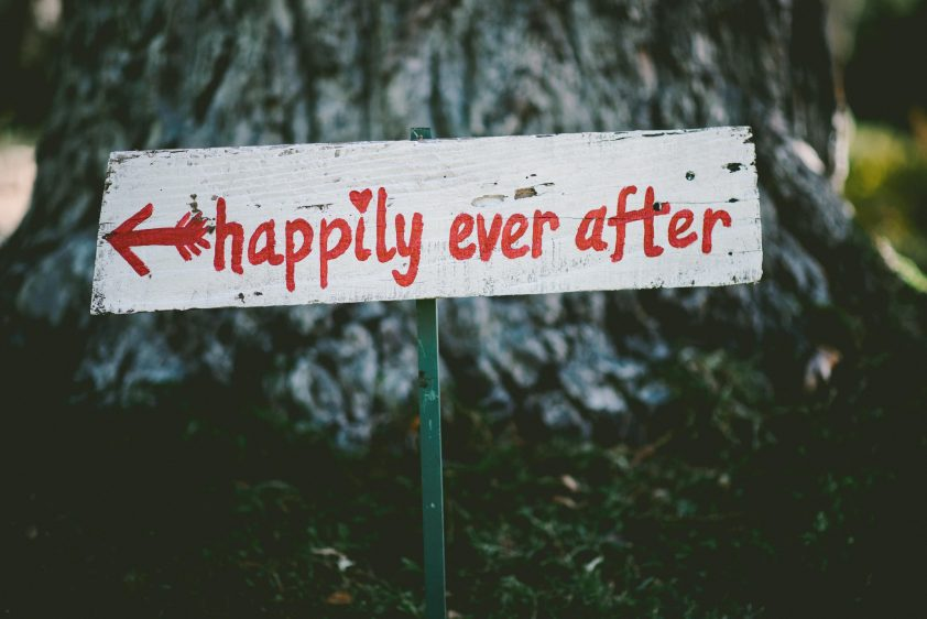 Happily Ever After sign at wedding