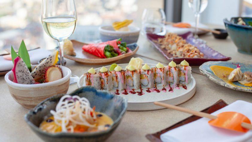 Sushi selection and wine on the terrace at SushiSamba