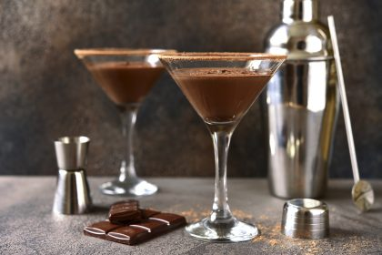 Delicious chocolate martini in glasses