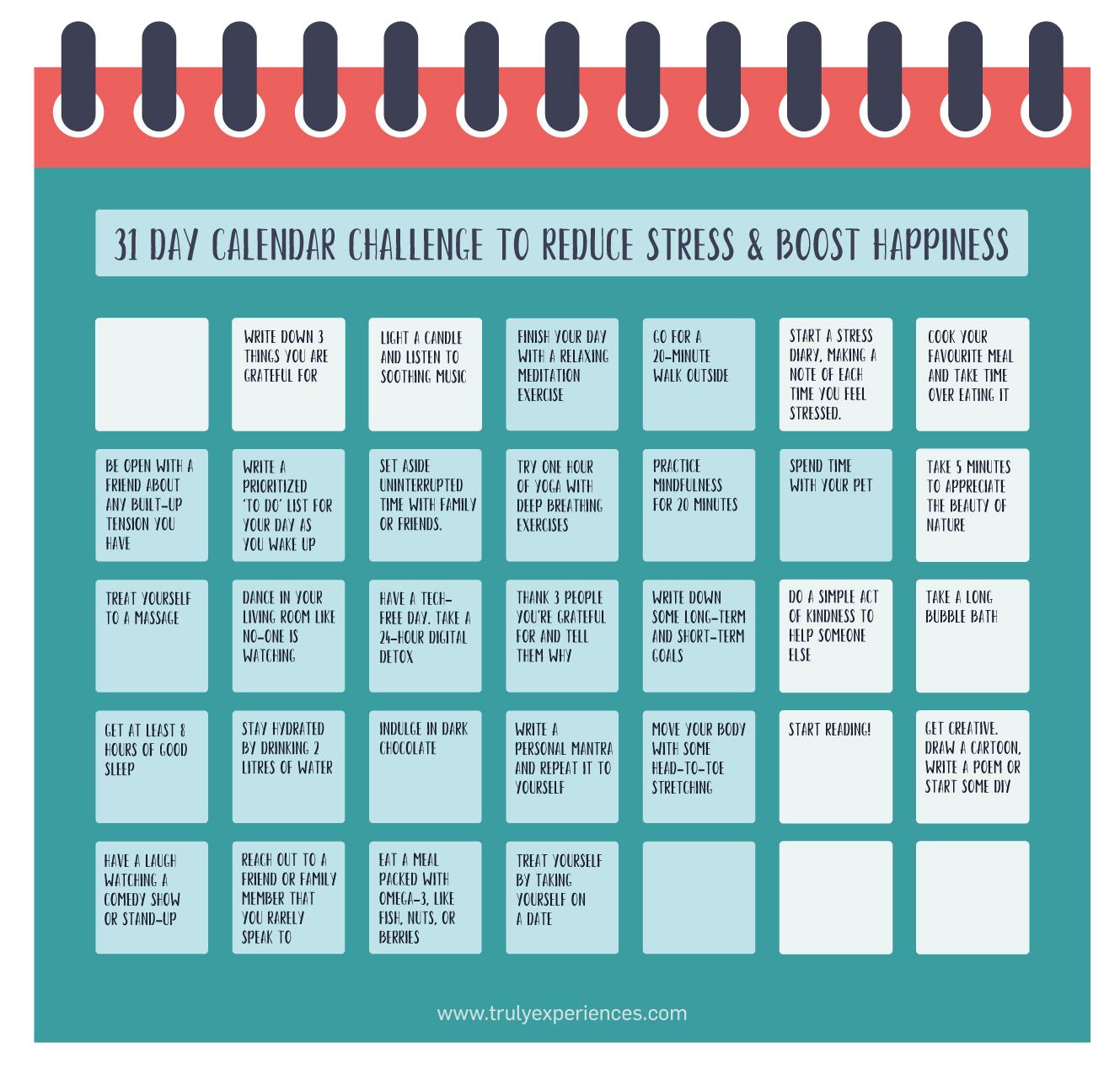 31 Day Calendar Challenge to Reduce Stress