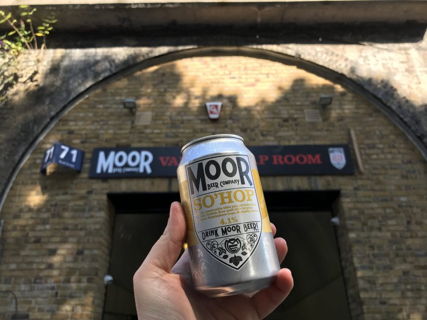 Can of Moor Beer outside Bermondsey Vaults Taproom
