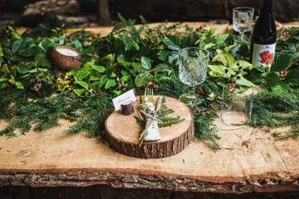 Wooden table setting for a wilderness dining experience