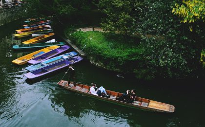 Couples punting in Cambridge
