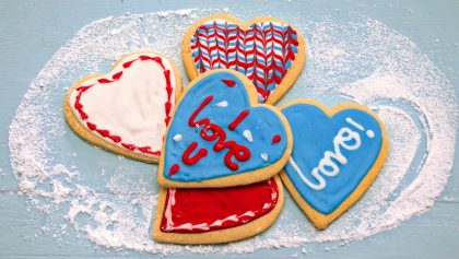 Homemade 'I love you' cookies for 6th anniversary gift