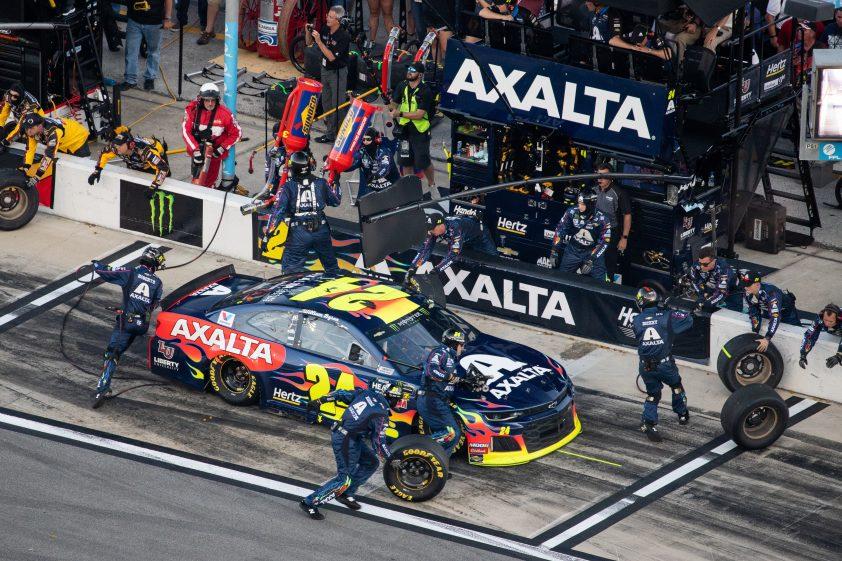NASCAR racing pit stop