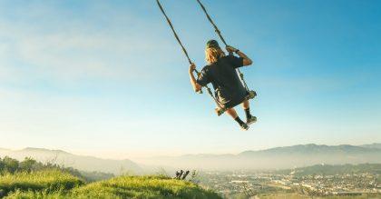 Man swinging over Los Angeles