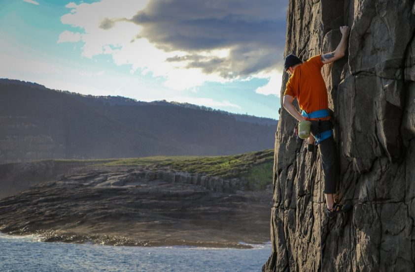 man climbing at tasmania