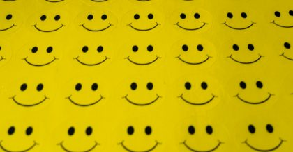 A set of yellow smiley stickers