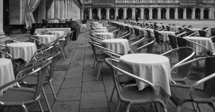 Empty restaurant seats from the corona virus pandemic