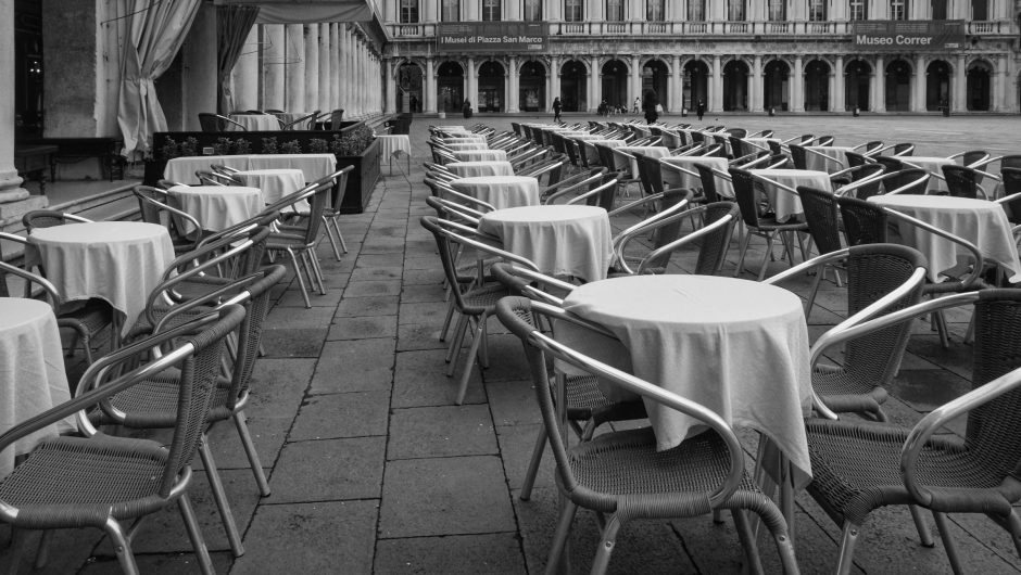 Empty restaurant seats from the corona virus pandemic