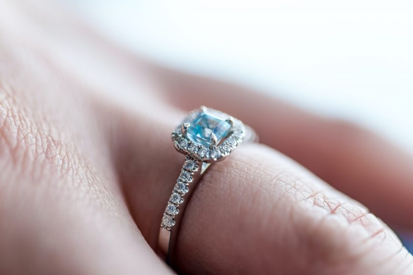 Dazzling blue diamond engagement ring