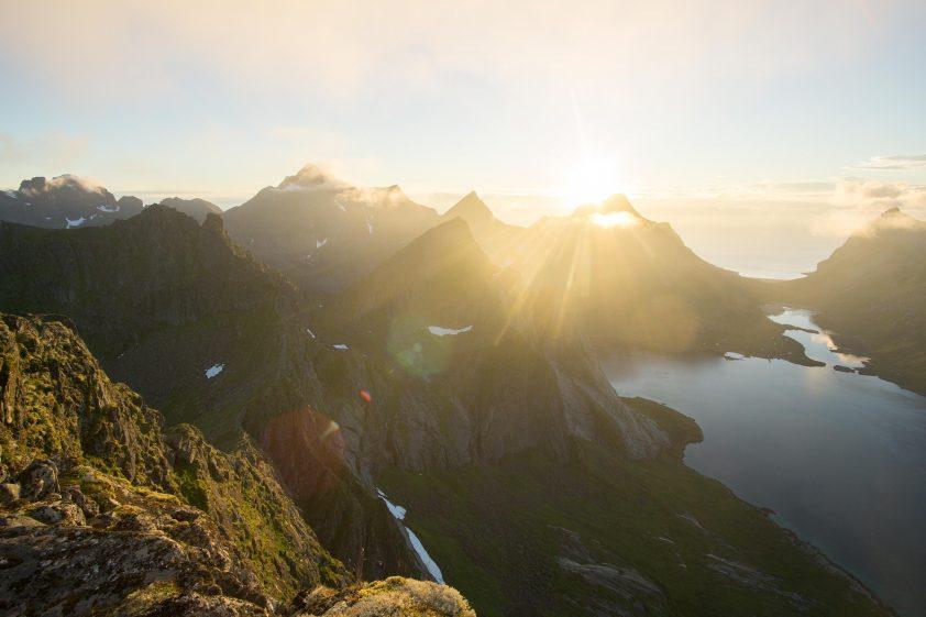 The midnight sun shining in the Arctic