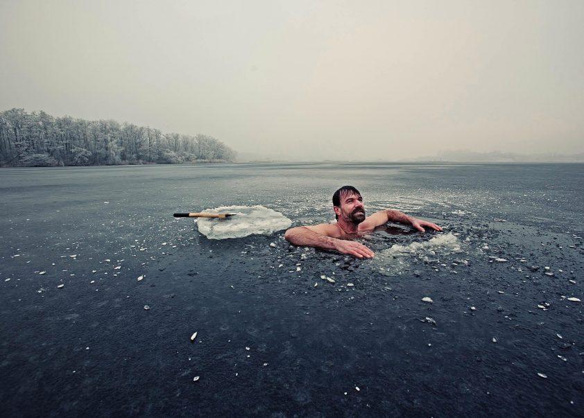 The Iceman Wim Hof in water