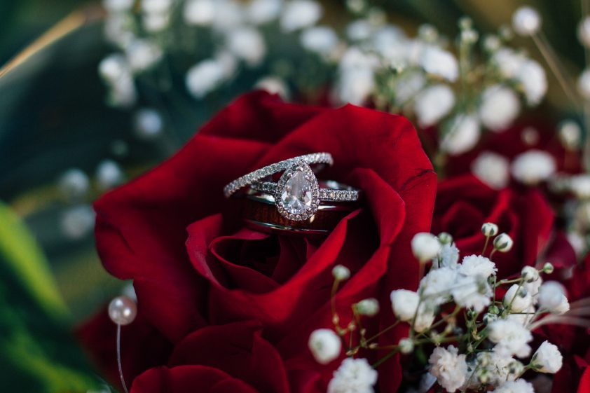 Diamond engagement ring in a rose