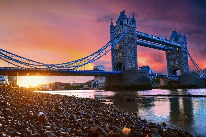 Photographic shot of London bridge at sunset