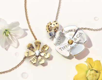 Tiffany'sLove Bugs daisy and ladybug flower pendants in 18k gold sterling silver