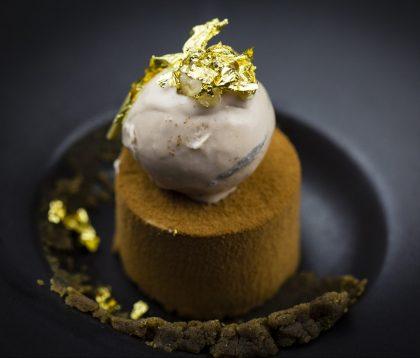 Michelin star gold leaf chocolate dessert