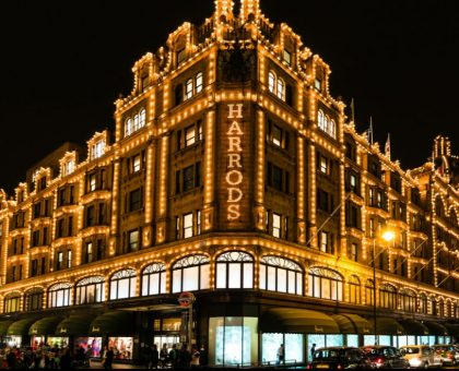 Harrods lit up at night