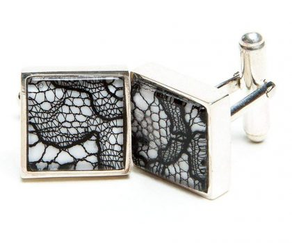 Lace cufflinks 13th anniversary gift for him