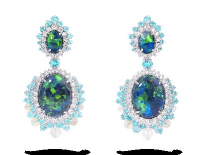 Black Opal And Paraiba Tourmaline Earrings