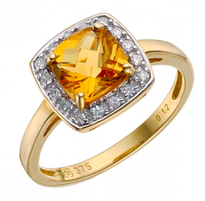 9ct Yellow Gold Citrine/Diamond Ring