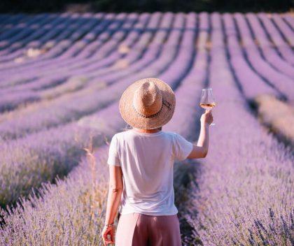 Woman wine tasting in France