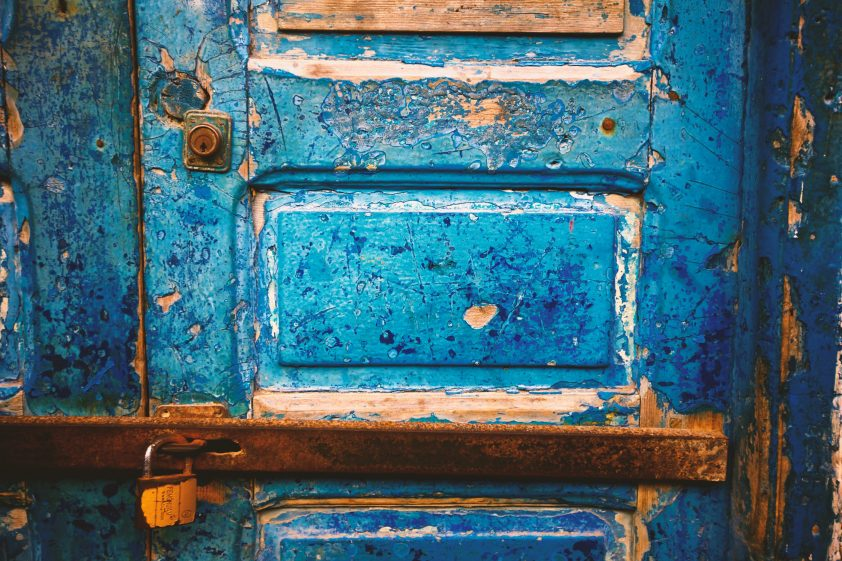 Blue Moroccan broken door