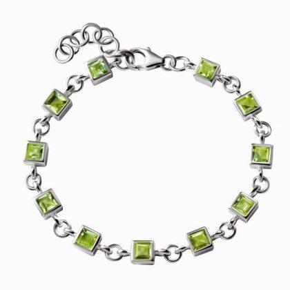 Silver peridot tennis bracelet