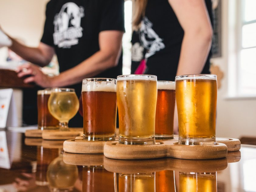 Glasses of golden beer for beer tasting experience