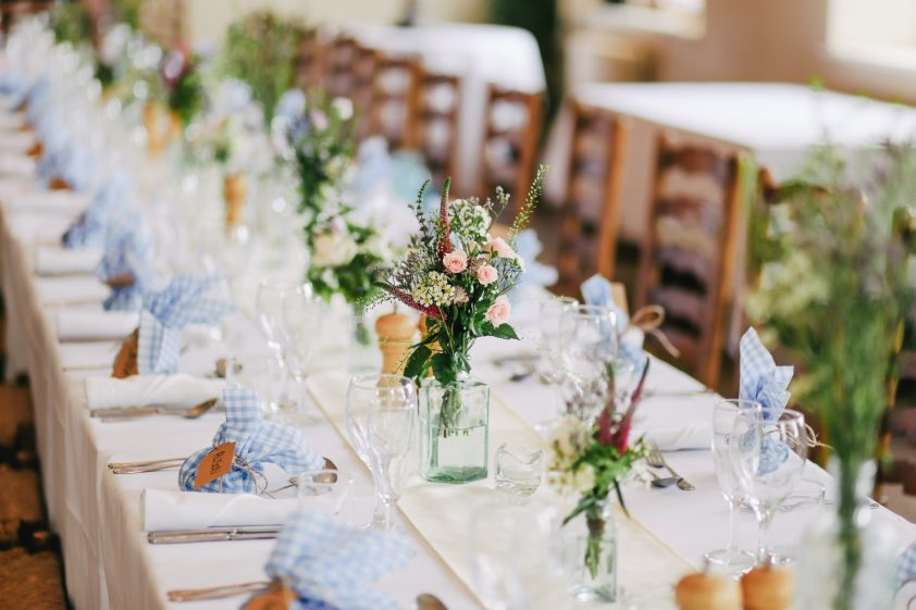 Wedding decor on table