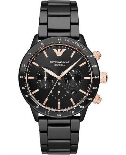 Emporio Armani's Three-Hand Black Ceramic Watch