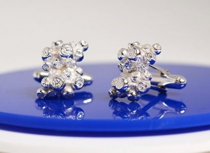 Silver coral cufflinks for him