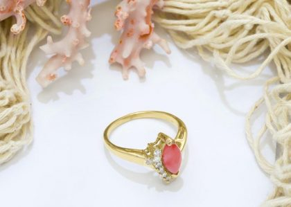 Coral ring for 35th anniversary gift
