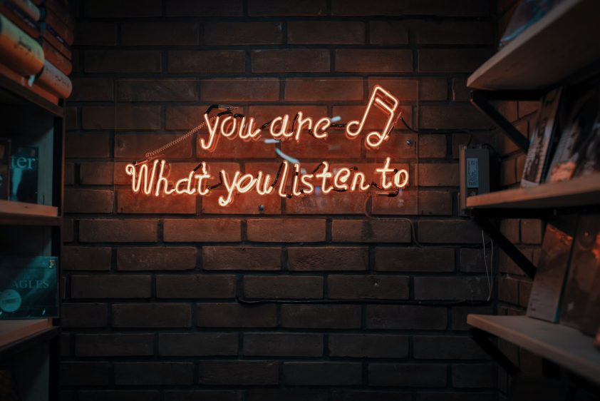 """You Are What You Listen To"" Neon Music Sign"