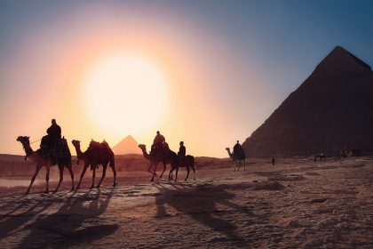 Camel ride at sunset in Egypt